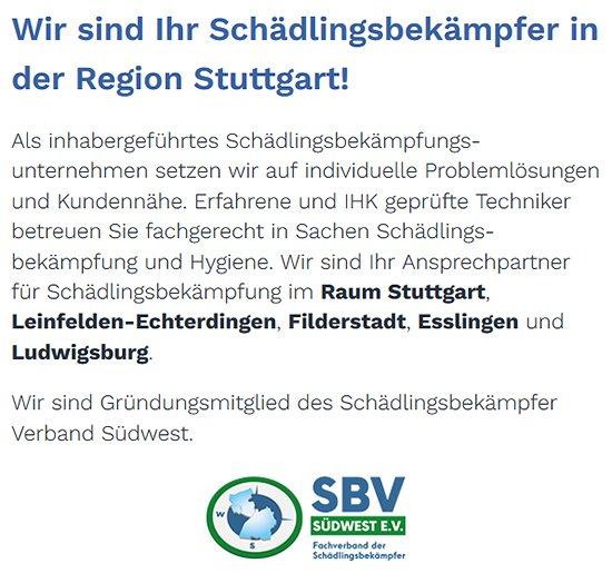 Kammerjäger für  Hildrizhausen, Altdorf, Holzgerlingen, Ehningen, Gärtringen, Nufringen, Weil (Schönbuch) und Böblingen, Schönaich, Herrenberg